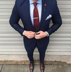 The Blue Suit Collection MontrellDemet Blue Suit Men, Navy Suit Brown Shoes, Blue Suits, Mens Suits Online, Suit Combinations, Designer Suits For Men, Herren Outfit, Classy Men, Dapper Men
