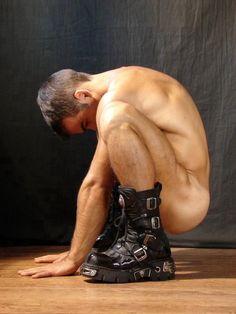 Naked guys squatting