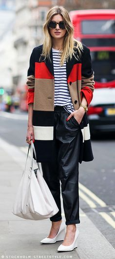 LE FASHION BLOG LONDON FASHION WEEK FW 2013 STREET STYLE CAMILLE CAMILLE OVER THE RAINBOW STYLE BLOG COLOR BLOCK COAT JAEGER JOHN LEWIS CELINE COLOR BLOCK LEATHER SLOUCHY JOG MANGO PANTS TROUSERS STRIPE SHIRT TOP WHITE WEDGE HEELS GOLD WATCH ASOS CLEAN MINIMAL RINGS JIMMY CHOO LEATHER TOTE BAG KAREN WALKER CRAZY TORT ROUND SUNGLASSES