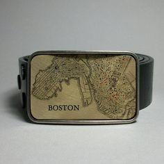 Boston Massachusetts Belt Buckle Vintage Map by decembermoondesign, $29.00