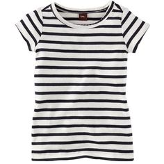 Maritime Stripe Tee ($20) ❤ liked on Polyvore featuring tops, t-shirts, shirts, tees, stripe shirt, striped tee, nautical striped tee, nautical shirt and lightweight t shirts