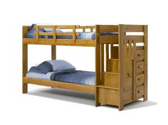 Woodcrest Twin Over Twin Reversible Stair Bunk Bed