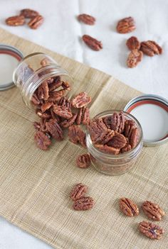 Maple Bourbon Roasted Pecans make the perfect sweet and crunchy snack! Bourbon Recipes, Pecan Recipes, Snack Recipes, Dessert Recipes, Cooking Recipes, Desserts, Spiced Pecans, Roasted Pecans, Bourbon Pecans Recipe