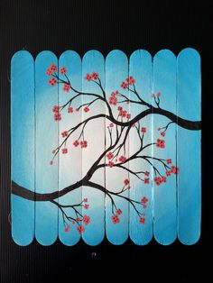 """""""Cherry blossoms on popsicle sticks Popsicle Stick Art, Popsicle Stick Crafts, Craft Stick Crafts, Ice Cream Stick Craft, Art N Craft, Plate Crafts, Yarn Crafts, Simple Canvas Paintings, Small Canvas Art"""