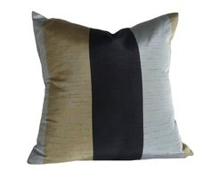 Metallic Striped Pillows in black gold and pewter by PillowThrowDecor Wide Stripes, Modern Man, Antique Gold, Decorative Throw Pillows, Pewter, Fabric Design, Black Gold, Pillow Covers, Metallic