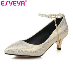 ESVEVA 2017 Med Heel Women Pumps Spring Autumn Shoe Thin Heel Women Shoes  Pointed Toe Ankle Strap Sliver Wedding Shoe Size 34 43-in Women s Pumps  from Shoes ... b96ac6efef8f