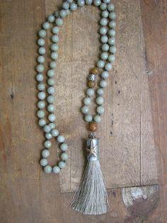 Starfish knotted tassel necklace Summer Festival by 3DivasStudio Materials: brass, copper, silk tassel, faceted gemstones, soldered pendant, artisan silver
