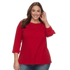 Plus Size Croft & Barrow® Sleeve Lace Tee, Med Red