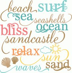 Silhouette Online Store: miss kate beach words set