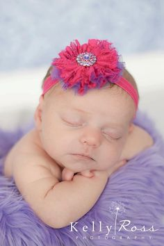Newborn Headband Baby Girls Headband Pink and by spoiledNsweet, $7.95