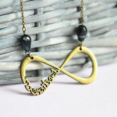 Infinite Love // Necklace metal brass with beads by OhKsushop
