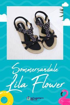Sommersandale Lila Flower mit dekorativen Perlen für Damen ☀💦  Sommerliche Sandale mit weichem Gel-Fussbett ohne Zehentrenner. Dank dem   elastischen Fersenband sehr angenehm auf der Haut zu tragen. Wie auf Wolken schweben!  Jetzt online bei schwesternuhr.ch bestellen - Ohne Versandkosten! Schweizer Unternehmen.  #schwesternuhrch #schwesternuhr #schwesternschuhe #sandalen #sommersandalen #sommer Sandals, Shoes, Fashion, Calamari, Beautiful Sandals, Comfortable Sandals, Comfortable Shoes, Hiking Supplies, Levitate