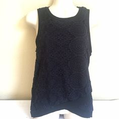 Navy Blue & Black Top Brand new with tags.  Never worn but fabric has some fuzzy piling as seen in photo.  Barely noticeable unless you actually feel it. NO TRADES Monteau Tops