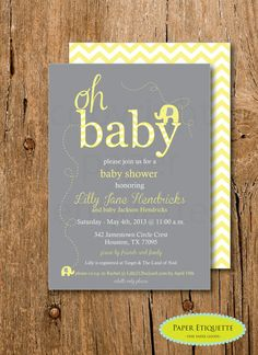 Yellow and Gray Elephant Baby Shower Chevron Invitation - Print Your Own on Etsy, $15.00