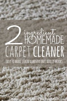 Two ingredient homemade carpet cleaner. This is an economical carpet stain remover that really works. Using two common household ingredients, you can easily mix yourself up a spray bottle of solution to have on hand.