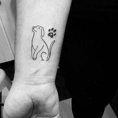 Small Dog Outline Tattoo