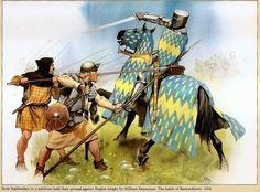 Scottish Highlanders in aschiltron at Bannock Burn1314 fend off the English Knight Sir William Deyncourt.