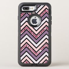 #Chevron Lavender Pink & White OtterBox Defender iPhone 8 Plus/7 Plus Case - #girly #iphone #cases