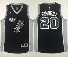 San Antonio Spurs #20 Manu Ginobili Black New Road Stitched NBA Jersey