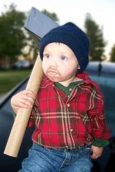 Our last minute lumberjack Halloween costume for our youngest son. The axe is a cardboard tube, foam and duct tape.