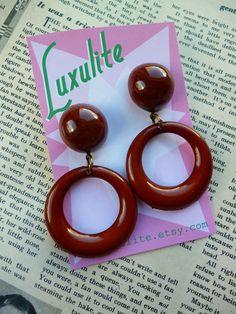 b6033f385 Bakey Brown Autumnal Sweater girl drop hoop earrings handmade 50s bakelite  fakelite style by Luxulite Hoop
