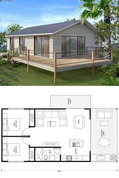 Two Bedroom Tiny House Plans - 12 Two Bedroom Tiny House Plans, 100 Adorbs Tiny Homes Small House Floor Plans, Beach House Plans, My House Plans, Two Bedroom Tiny House, Bedroom House Plans, Cottage Plan, Prefab Homes, Prefab Home Kits, Small House Design