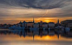 Download wallpapers Stockholm, sunset, evening, embankment, boats, Sweden