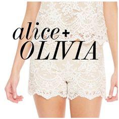 Alice + Olivia Amal Boxy Lace Tank & Scalloped Lace Shorts
