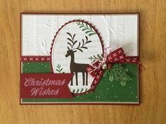 Stampin Up handmade Christmas card - Reindeer with mistletoe and bells Diy Cards, Christmas Cards, Christmas Ornaments, Reindeer Christmas, Stampin Up Christmas, Handmade Christmas, Card Making Tutorials, Animal Cards, Christmas Animals