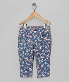 Take a look at this Red Floral Denim Capri Pants - Toddler & Girls by Squeeze on #zulily today!