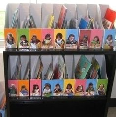 magazine bins with the photos of each preschooler so they can put their own books and works away.