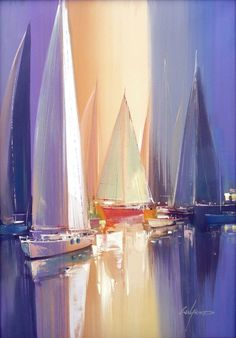 Wilfred Lang He was born in 1954 in Shanghai and began his artistic career at the incredible age of only seven years. From 1972 . Sailboat Art, Sailboats, Boat Painting, Acrylic Art, Beautiful Paintings, Contemporary Paintings, Landscape Art, Art Pictures, Painting Inspiration
