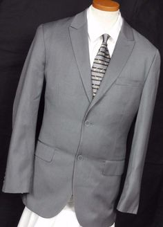 Alfani Men's Wool Blend Bengal Stripe 2 Button Gray Sport Coat Size 42S #Alfani #TwoButton