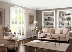 This is the project I created on Behr.com. I used these colours: MOCHA LATTE(PPU5-4),BARISTA(N210-3),WHITE(52) colour scheme for living/dining room idea