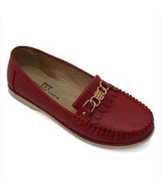 Red Metallic-Accent Moccasin