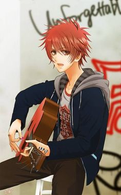 A red head and a guitar.