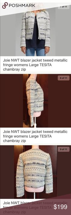 Joie tweed jacket blazer NWT metallic womens large Manufacturer: Joie Retail: $378.00 Condition: New with tags Style Type: Collarless Blazer Collection: Joie Sleeve Length: Long Sleeve Closure: Zipper Material: Cotton/Polyester/Acrylic/Wool/Metallic Fabric Type: Tweed Specialty: Lined Style Number: M578J2330 *FIRST PICTURE NOT ACTUAL JACKET* Joie Jackets & Coats Blazers