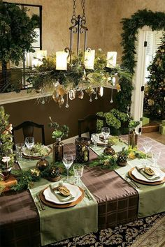 Christmas Tablescapes Table Decorations Settings Chandelier White Tabletop Holiday Ideas