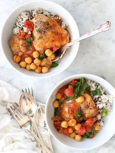 Tabasco Braised Chicken with Chickpeas and Kale /