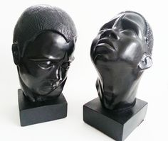 Two Charming and Rare Esco bust of African Men Statued  A rare uniquely fascinating set of chalkware figural busts Designed by artist Marie Brower in 1961 Made by Esco Products  Extremely rare  pieces of Americana