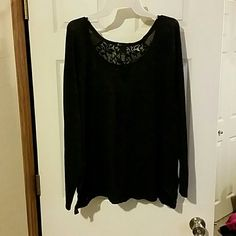 Plus size sweater New w/o tags. Dark purple and black sweater with lace back and lace sides from Lane Bryant. Size 14/16. Will also fit 18/20. Lane Bryant Sweaters Crew & Scoop Necks