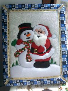 Papá Noel y muñeco de nieve Christmas Stocking Kits, Christmas Ornament Crafts, Christmas Items, Felt Christmas, Christmas Decorations To Make, Christmas Stockings, Christmas Crafts, Christmas Quilt Patterns, Christmas Embroidery