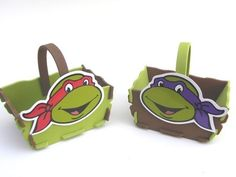 cesta retangular Tartarugas Ninja-Cortes para Montar  www.petilola.com.br
