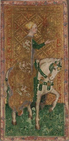 Horsewoman of Diamonds from the Visconti tarot deck by Bonifacio Bembo, c.1450