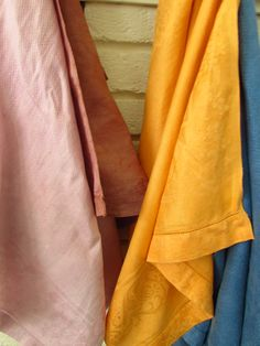 Vintage linen dishtowels hand-dyed with cochineal, annatto and indigo.