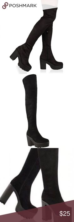 Suede over the knee thigh high chunky boots Euc absolutely adorable! Didn't wear too much! H&M Shoes Over the Knee Boots