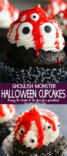Ghoulish Monster Halloween Cupcakes are a super cute dessert for your Halloween party. The kids will giggle at this a fun & spooky Halloween treat. #monstercupcakes #halloween #dessert