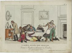 French print: L'Apres-Dinee des Anglais, c1816, from Fitzwilliam Museum. There's that infamous chamber pot in the dining room....