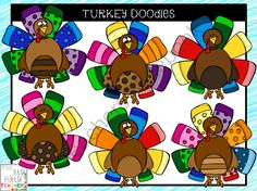 Clipart - Turkey Doodles from Jamie Harnar on TeachersNotebook.com -  (12 pages)  - Turkey clipart doodles that are perfect for Thanksgiving.