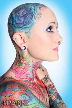 Jinxi Boo is Shocking America With Her Head to Toe Ink ~ lose the septum ring and she'd be the cutest thing ever!